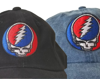 Grateful Dead Hat Steal Your face embroidered ballcap  Stealie Stealy SYF  embroidered onto a high quality cotton twill cap adjustable strap b15d6bbfed9