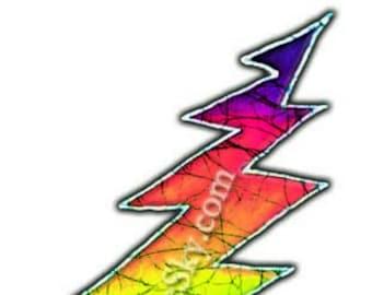 Grateful Dead Sticker-13 Point Lightning Bolt-Rainbow. Die Cut sticker. Car sticker, laptop sticker, colorful sticker, decal,  slap