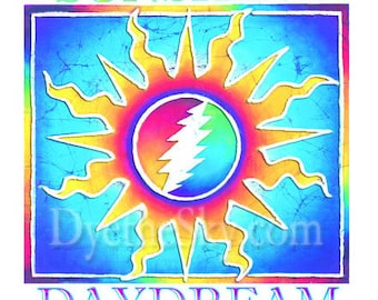 Grateful Dead Sticker-Sunshine Daydream. Sun with 13 pt Lightning Bolt. Car sticker, laptop sticker, Decal, colorful sticker.