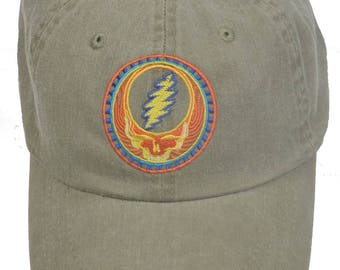 5714eba013c53 Grateful Dead Hat- Orange Sunshine Stealie Embroidered Baseball Cap   hat   Dead and Company  Steal Your Face   13 point lightning bolt
