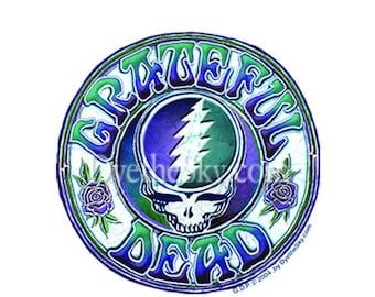 Grateful Dead Sticker Steal Your Face w/classic lettering. Car sticker, laptop sticker, Bumper sticker, Decal, colorful sticker.