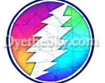 Grateful Dead Sticker-13 point Bolt in a color blend Circle. Two sizes. Car sticker, laptop sticker, colorful , Bumper sticker, decal, slap
