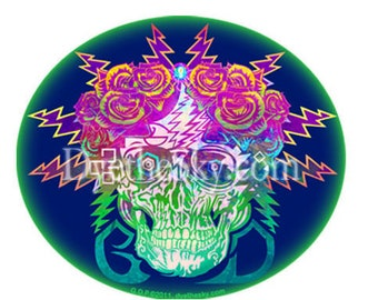 Grateful Dead Sticker/Electric Skull and Roses /Bertha . Car sticker, laptop sticker, colorful, decal