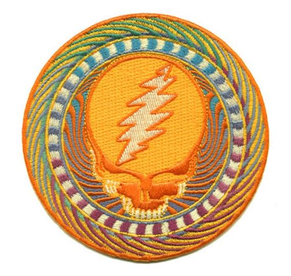 "1/"" Orange Lightning Bolt Embroidery Applique Patch"