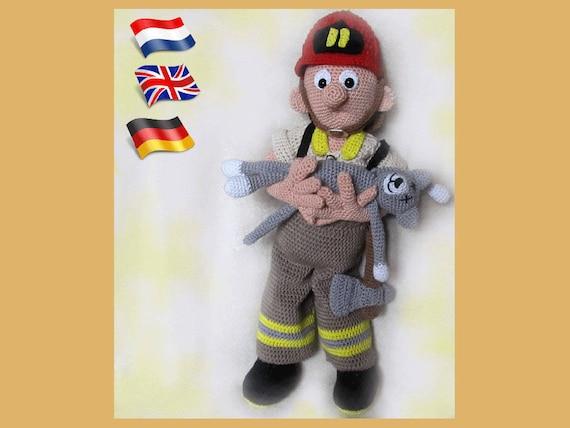 Feuerwehrmann Tom Amigurumi Puppe Häkelanleitung Gehäkelte Etsy