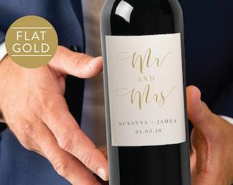 Gold Wedding Wine Label-Wedding Label-Wine Label-Editable Wine Label-PDF-Instant Download-Mr and Mrs-#SN015_WLG