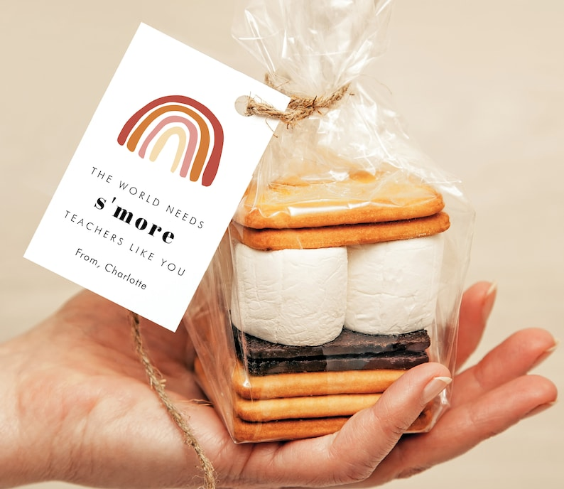 Modern Rainbow S'Mores Gift Tag The World Needs image 0