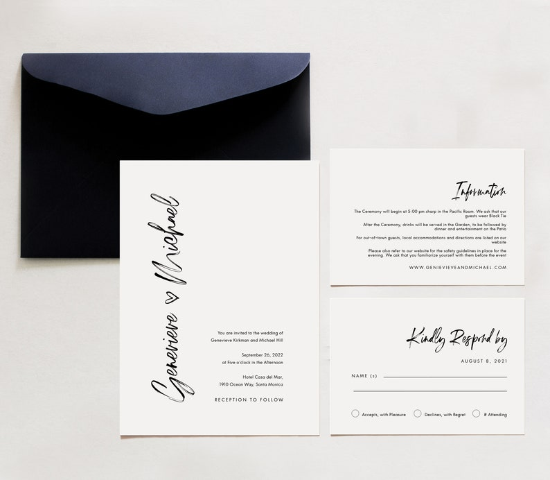 Heart Invite,SN045H/_WIS RSVP and Information Card Hand drawn Heart Wedding Invitation Modern Minimalist Wedding Invitation Suite Template