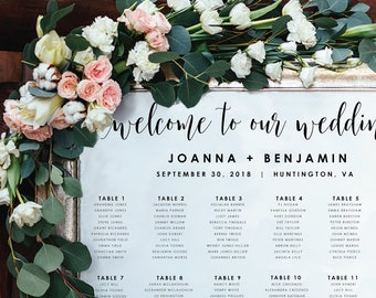 Wedding Seating Chart-Instant Download-Alphabetical-Seating Sign-DIY Template-Digital Calligraphy-Printable Seating Chart-#SN022_SC