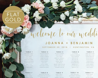 Gold Wedding Seating Chart-Instant Download-Alphabetical-Seating Sign-DIY Template-Digital Calligraphy-Printable Seating Chart-#SN022_SCGold