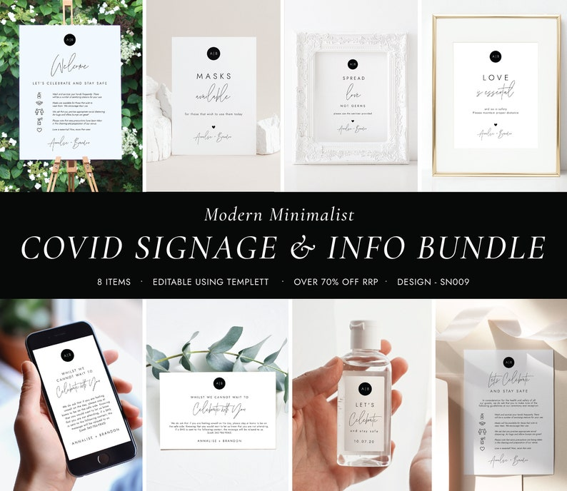 Monogram COVID Safety Stationery Masks Social Distancing Minimalist COVID Wedding Signage and Information Bundle COVID Bundle SN009/_CB