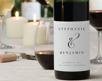 Wedding Wine Label-Wedding Label-Wine Label Template PDF-Instant Download-Engagement Wine Labels-DIY Wine Label-Engagement Party-#SN004_WL1