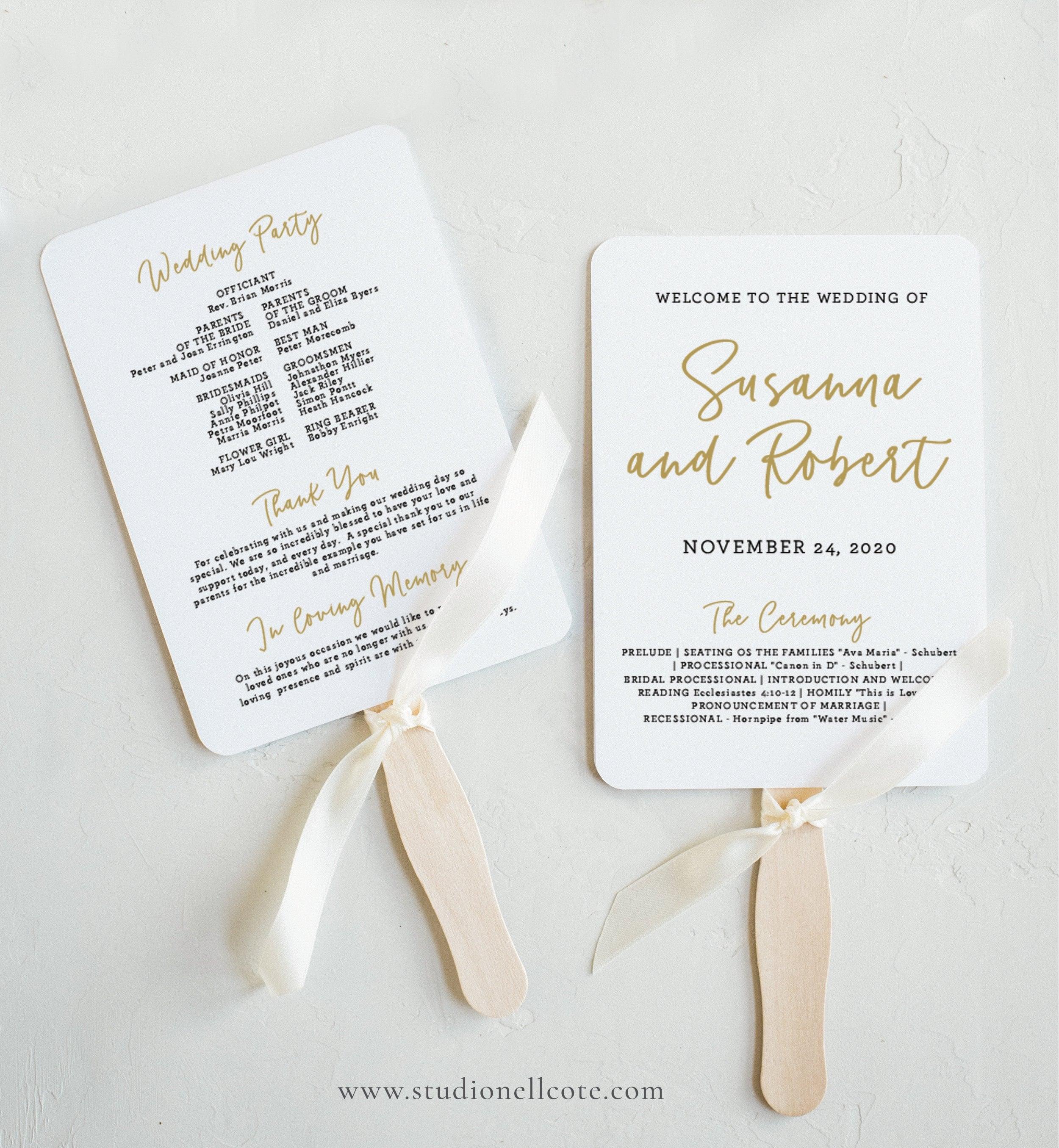 Gold Wedding Program Fan Template - Wedding Program, Templett Program, Gold  Ceremony Fan, Wedding FanTemplate - SN012_PFG