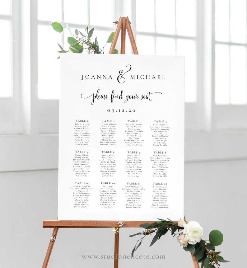 Elegant Seating Chart  Ampersand Seating Plan Elegant Table image 0