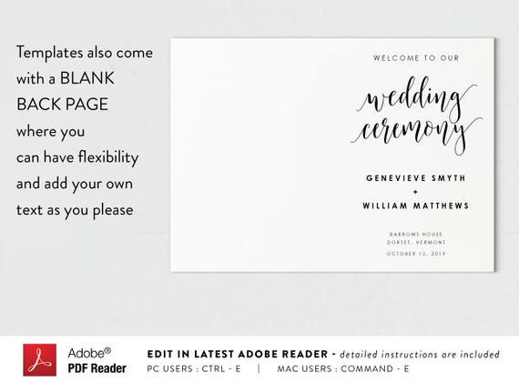 photo about Printable Wedding Program named Folded Wedding day Application-Fast Obtain-Rite Booklet