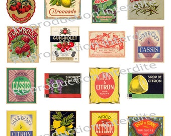 34 Retro digital labels for various syrups