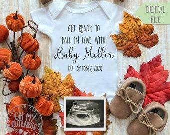 Get Ready to Fall in Love Digital Pregnancy Announcement | Autumn Baby | Custom Social Media Pregnancy Announcement Idea |Facebook Instagram