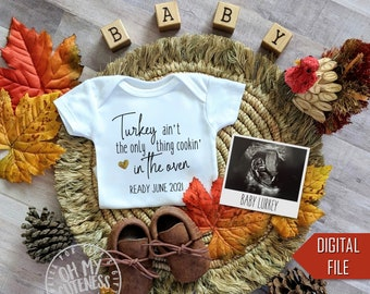 Turkey Ain't the Only Thing Cookin' Digital Pregnancy Announcement | Thanksgiving Baby | Social Media Baby Announcement  |Facebook Instagram