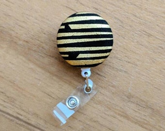 Black and Gold Badge Reel | Retractable ID Reel | Modern | ID Badge | Name Badge Clip | Badge Pull | L&D Nurse Badge | Retractable ID Holder
