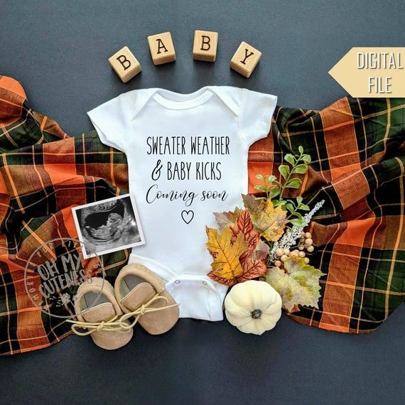 Sweater Weather and Baby Kicks Digital Pregnancy Announcement