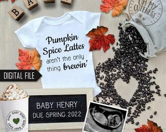 Pumpkin Spice Digital Pregnancy Announcement | Fall Announcement | PSL | Coffee Baby | Social Media Pregnancy Announce Idea | Facebook Insta