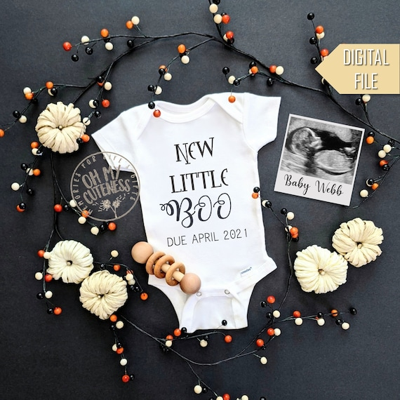 New Little Boo Digital Pregnancy Announcement  Halloween Baby