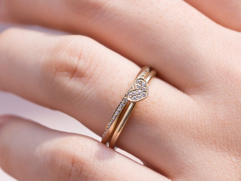 Delicate Stacking Rings Engagement Rings 14k Gold Ring Set of 2 Anniversary Gift Twisted Ring Wedding Rings Gold Ring Set Heart Ring