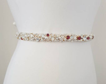 Ruby thin bridal belt / wedding dress sash / ruby and white opal bridal belt / pearls and crystals wedding sash / cluster wedding belt