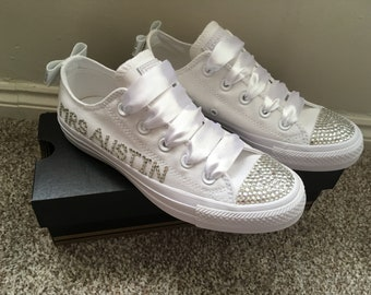 BLING  Customised Crystal BRIDAL Wedding Name and Date Mono All White CONVERSE  Lo Tops 3-9 7d7e838fe4