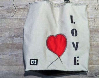 Canvas bag, fabric bag, handmade bag, cotton bag, decorated bag, handbag with heart, hand-decorated bag, sea bag