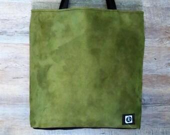Fabric bag, handmade bag, green cloth bag, shoulder bag, woman bag, large bag, microfiber bag, day bag
