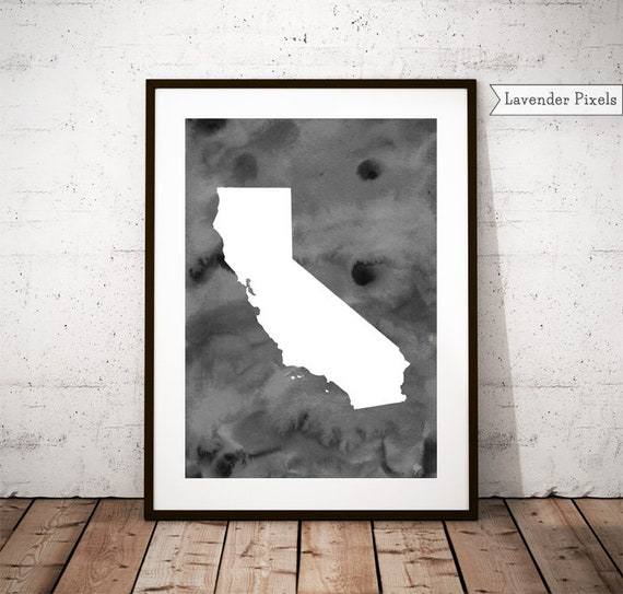 California Watercolor print Black and white US wall map | Etsy