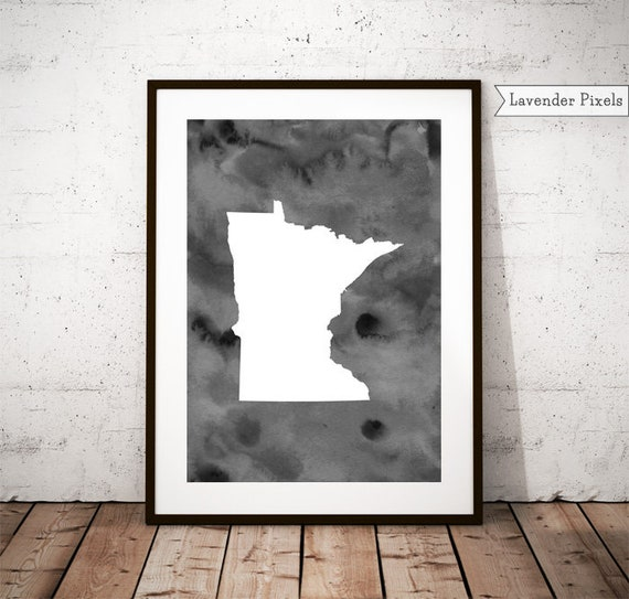 Minnesota Black and white Printable art Above bed Watercolor | Etsy
