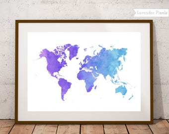 Blue world map print World map watercolor World map poster World map wall art College student gift Printable world map Travel gift women