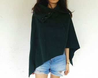 Turquoise Poncho Woman ONE SIZE M