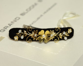 Black and gold beaded hair barrette Beaded hair clips Black barette Beaded crystal barrette Black beaded headpiece Bridesmaids' gifts