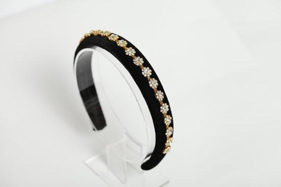 Black Velvet jewel embellished headband With Diamontes
