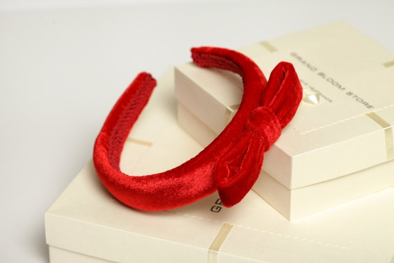 Red padded headband Red velvet headband Padded headband Red  7e1b55dadae