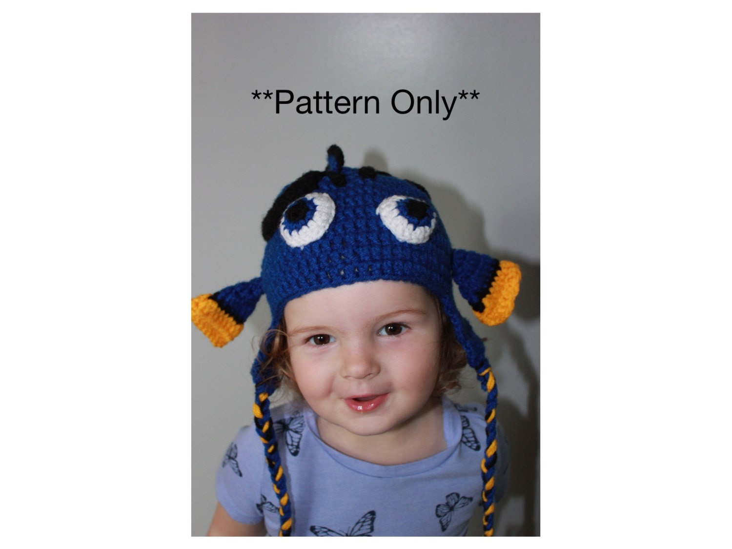 Blue Hippo Tang Crochet Hat With Earflaps Crochet Pattern Etsy