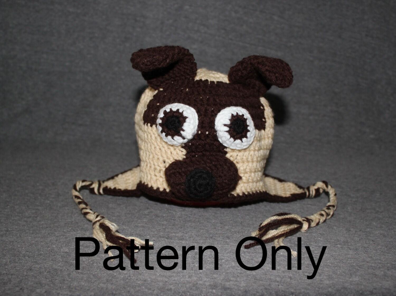 Pug Puppy Crocheted Hat Pattern Crochet Hat Pattern Pug Hat  ea21b468578