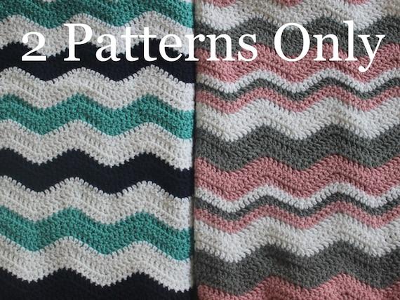 2 Patterns Chevron Baby Afghan Blanket Crochet Patterns Etsy