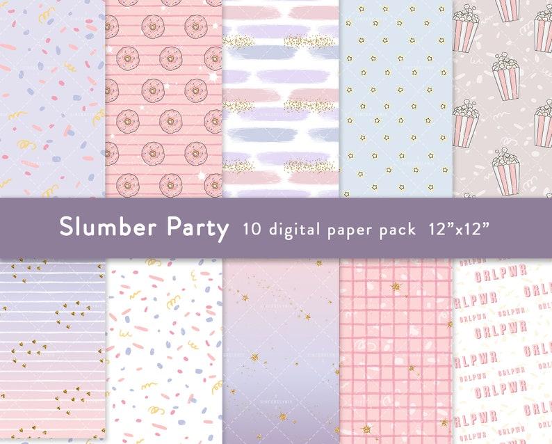 Slumber Party Digital Paper Fashion Clipart Cozy Pastel Pajama Planner Sticker Rainbow Cake Movie Night