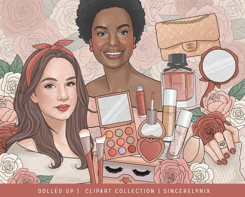 Dolled Up Make Up Fashion Clipart Planner Sticker Valentines African American Spring Rose