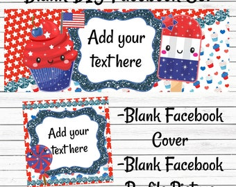 Instant Download-Blank DIY Facebook Business Graphics Set-Facebook-Cover Photo-Timeline Photo-Profile Picture-Patriotic-4thofJuly-Boutique