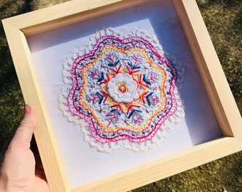 Framed Doily Wall Art Picture Frame Embroidery