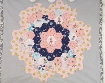 Large Boho wall hanging hexagons pink , blue , gold and grey mandala 50cm x 50cm handmade