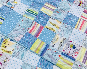 Patchwork cushion covers x 2 sea beach theme blues and yellows