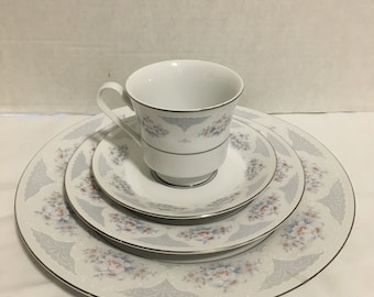 Vintage Set of China Floral and Lace Pattern with Platinum trim Made in China Fine China 4 Piece Settings and Individual Pieces     lot# 620