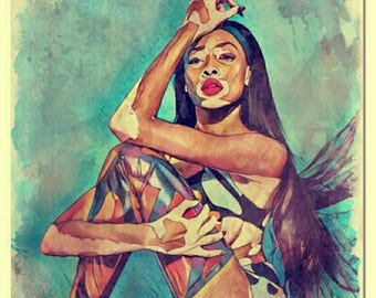 Winnie Harlow Watercolor Painting Art Print