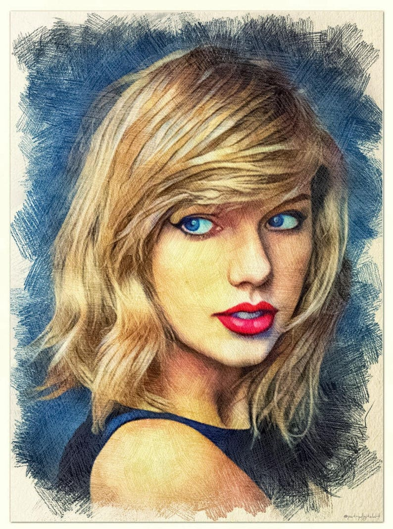 Taylor swift pencil drawing colorful artistic print wall decorations wall decoration wall decoration poster print